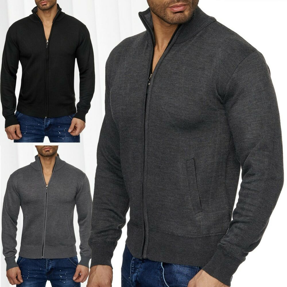 herren cardigan strick jacke weste pullover stehkragen zip rei verschluss zipper ebay. Black Bedroom Furniture Sets. Home Design Ideas
