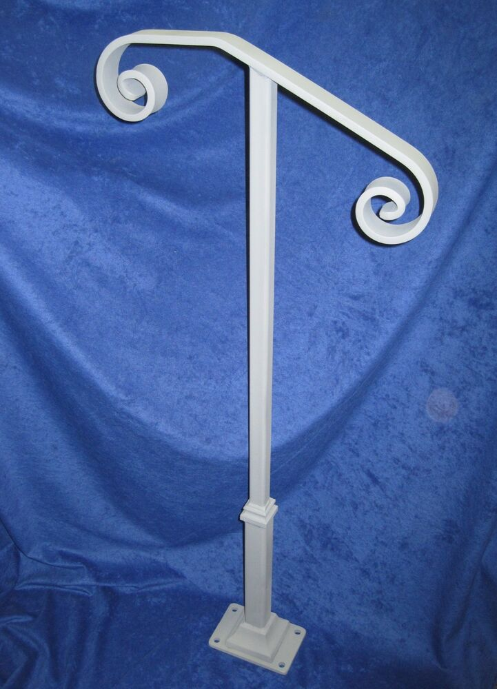 Single post or step railing w base plate and hardware