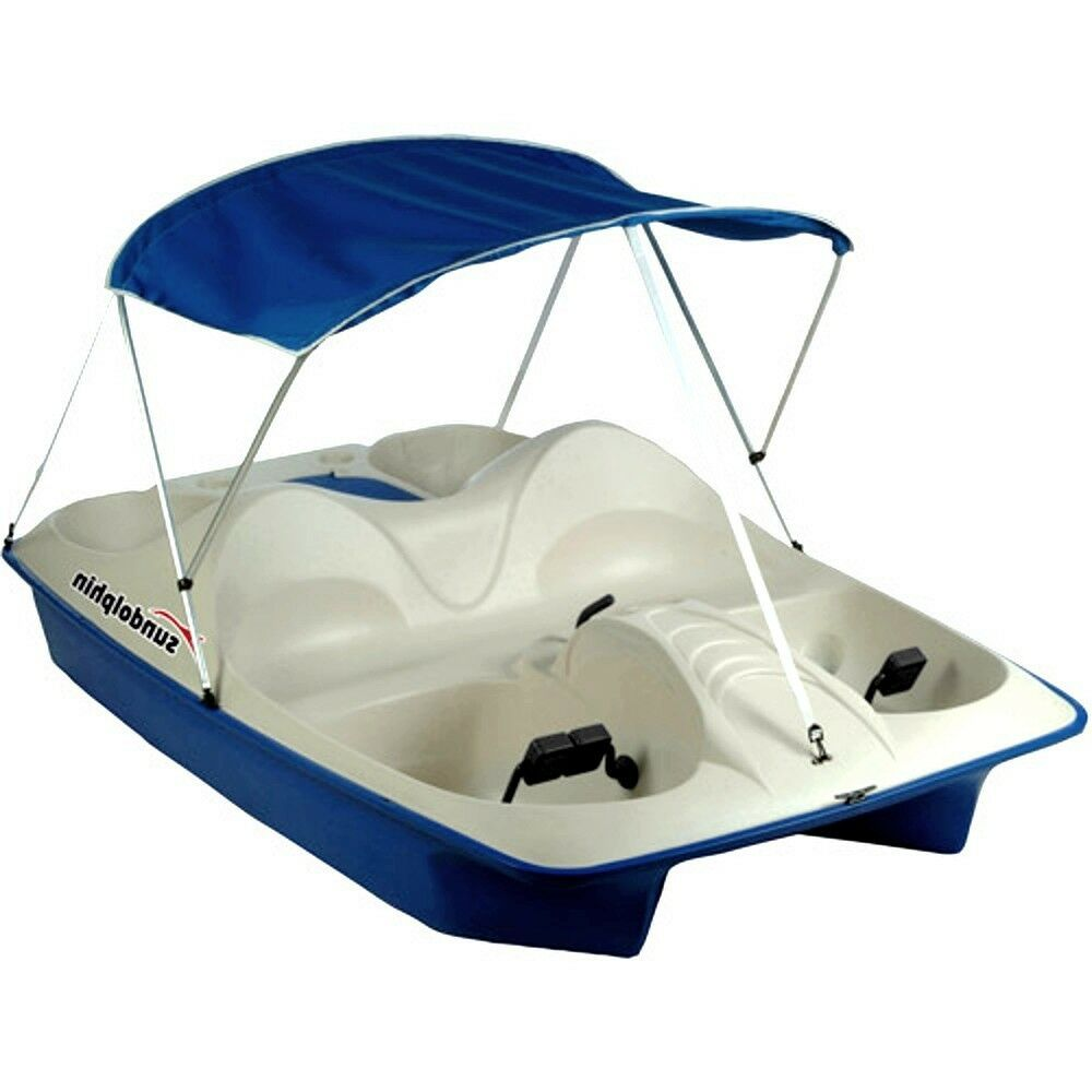 Paddle boat canopy pontoon pedal raft 5 ppl lake river for Fishing paddle boat