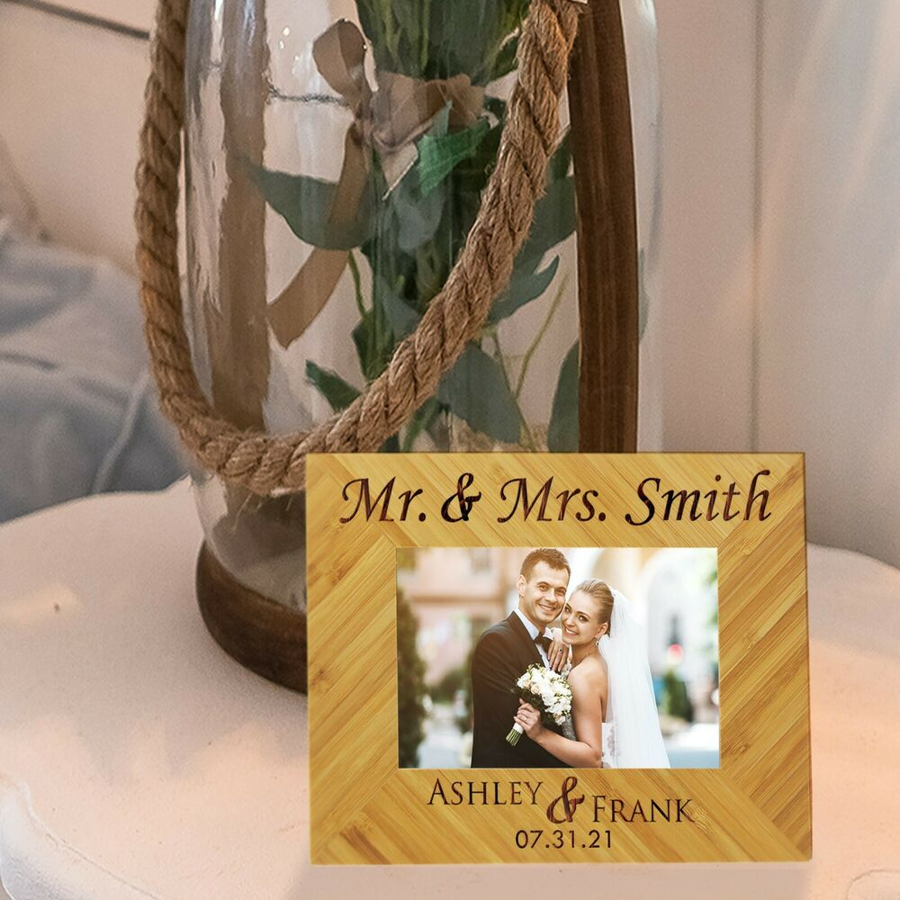 Wedding Picture Gifts: Custom Engraved 4x6 Picture Wedding Frame For Newlywed