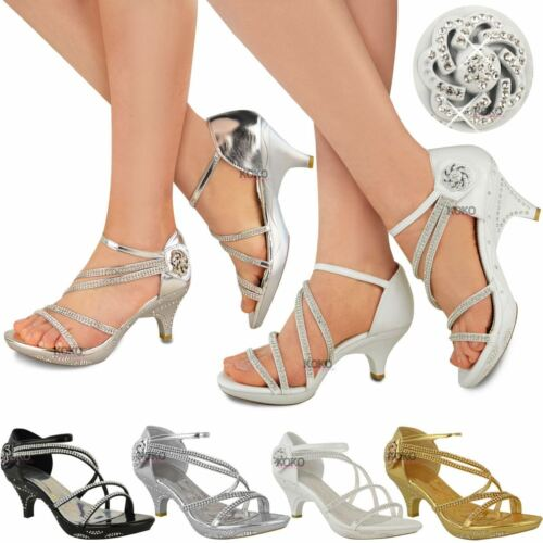 f0a11fa5c31 Womens Ladies Low Heel Diamante Bridal Wedding Sandals Strappy Party Shoes  Size
