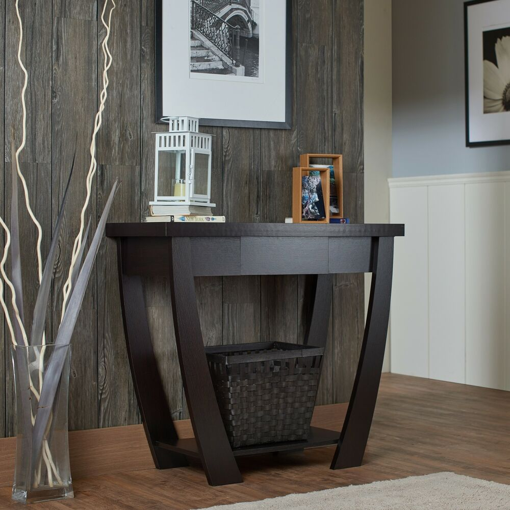 Foyer Storage Console Table : Console table for entryway modern black narrow storage