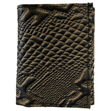 c22aba1eca6f AG Wallets Mens Trifold Crocodile Embossed Credit Card ID Leather Black  Wallet