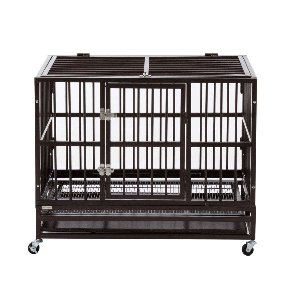 xl 37 large dog cage pet steel crate heavy duty kennel playpen folding w tray ebay. Black Bedroom Furniture Sets. Home Design Ideas