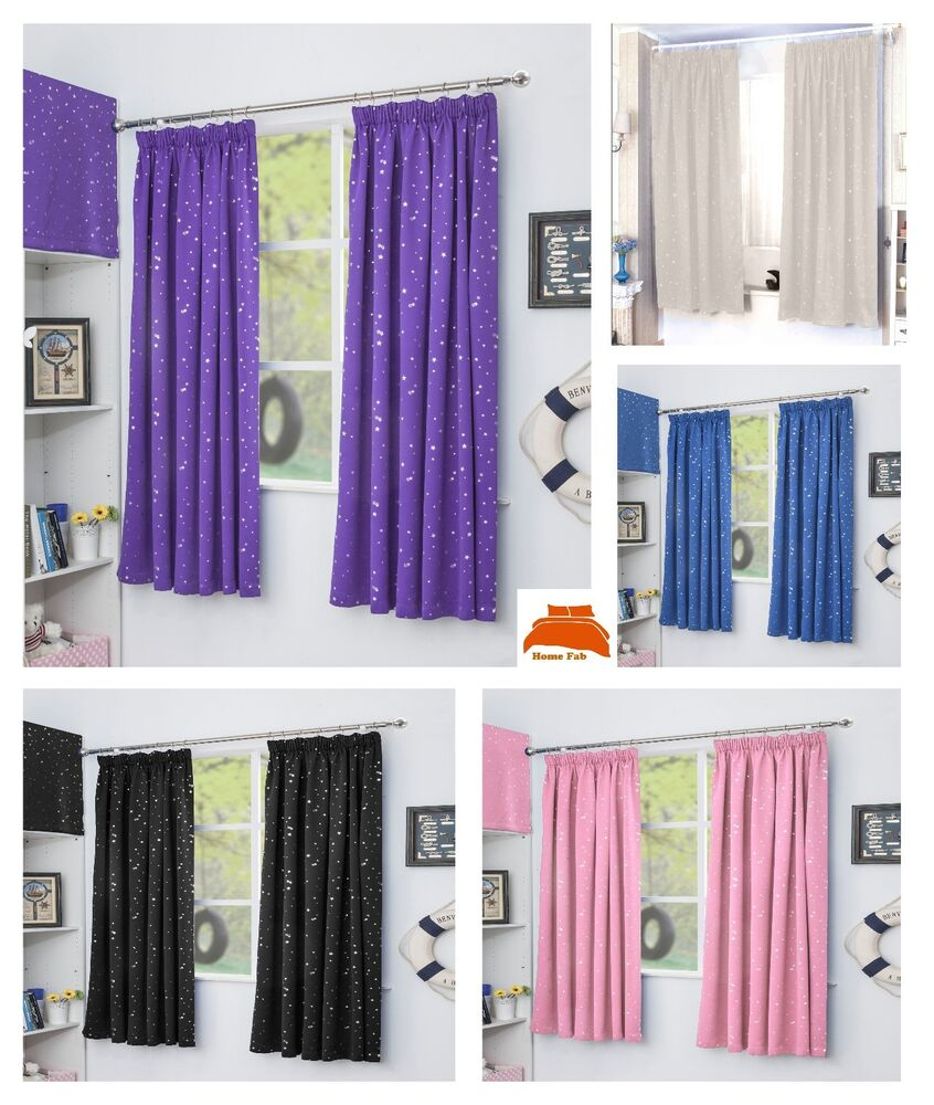tape top thermal semi blockout curtains children kids bedroom ebay