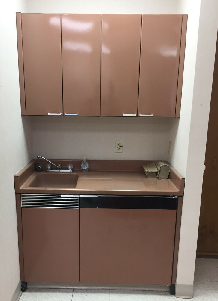 Metal cabinets sink base w rare under counter fridge for Metal kitchen cabinets