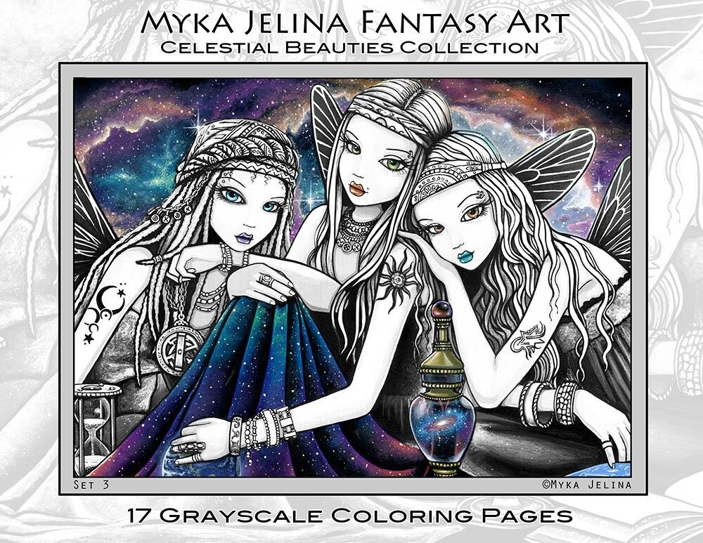 Myka Jelina Art Coloring Pages Celestial Beauties Star