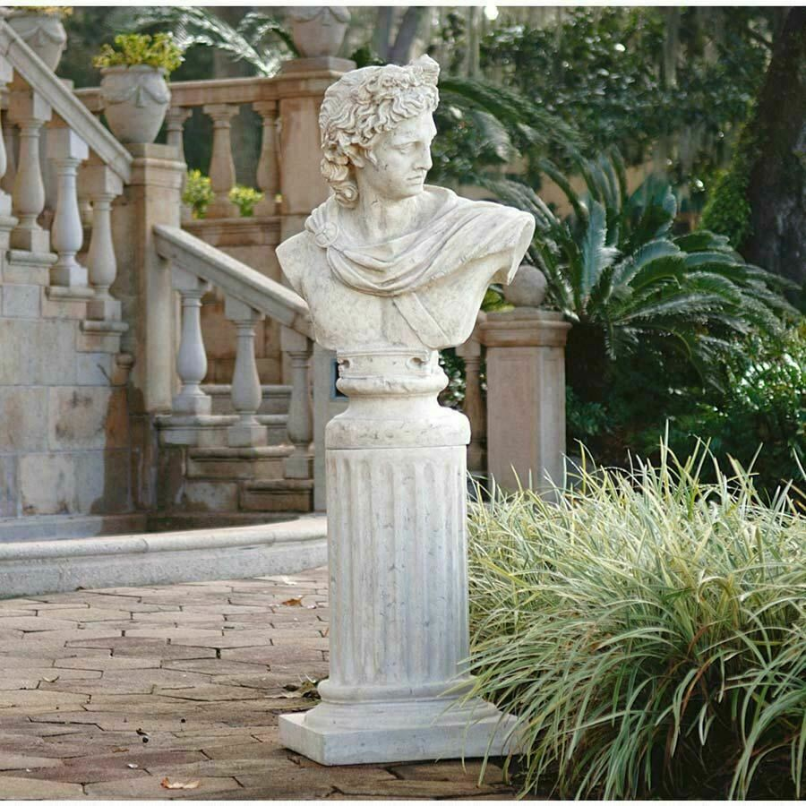Ancient Greek God Apollo Belvedere Statue Bust And Column