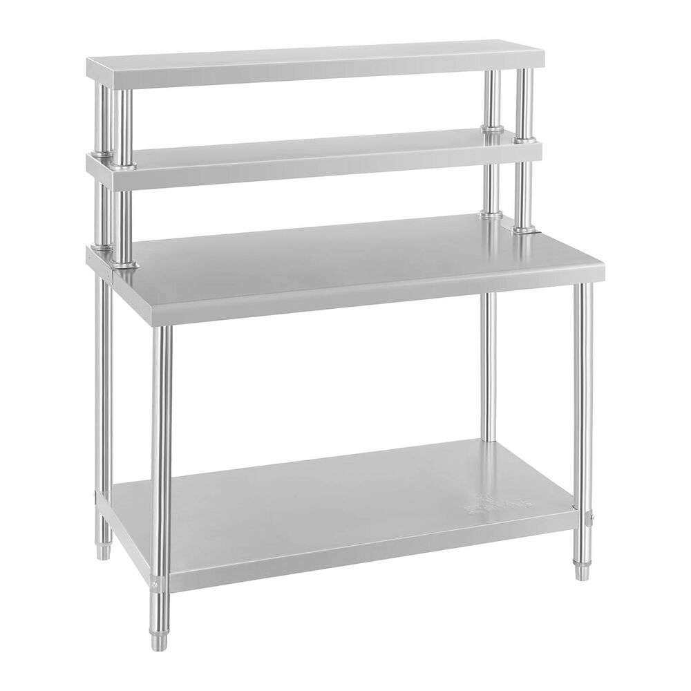 table inox avec etagere appoint plan de travail cuisine 120 cm 4 niveaux 140 kg ebay. Black Bedroom Furniture Sets. Home Design Ideas