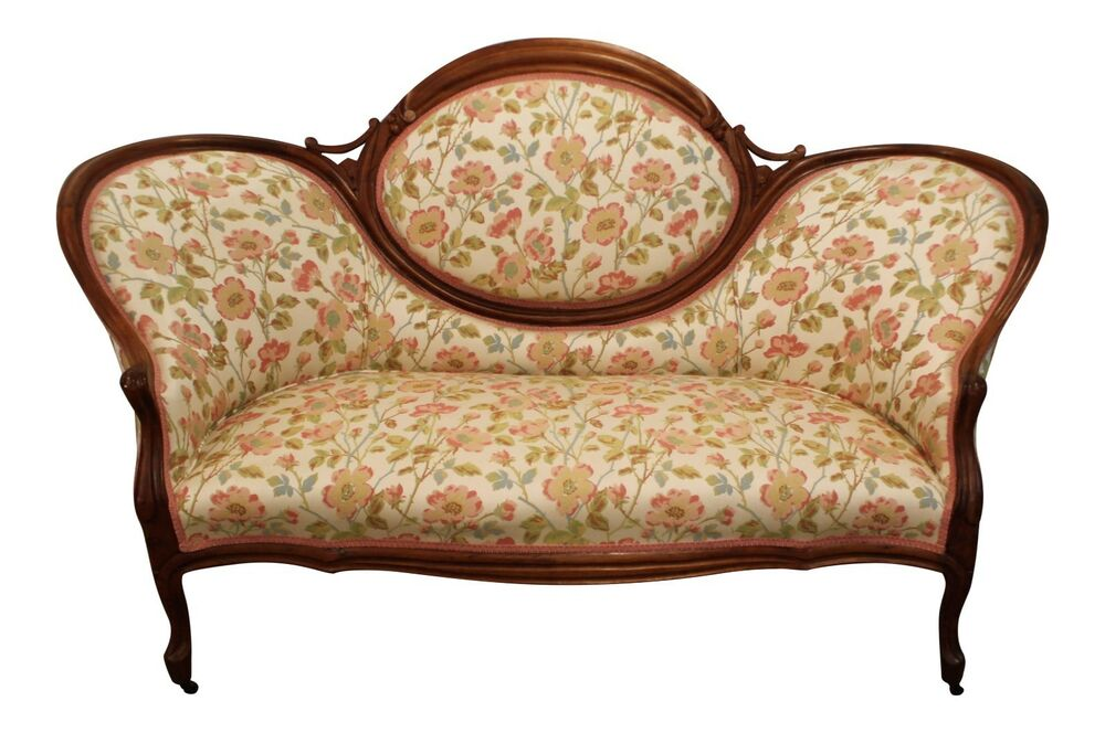 Antique Victorian Carved Settee Loveseat Sofa On Wheels Ebay
