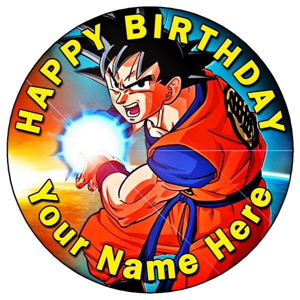 """DRAGON BALL Z - GOKU PARTY 7.5"""" PERSONALISED ROUND EDIBLE ..."""