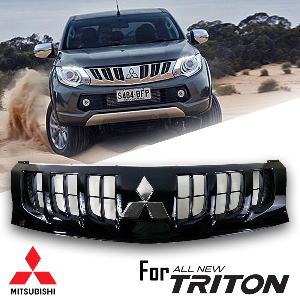 Black Front Grille Grill With Chrome Logo Mitsubishi L200