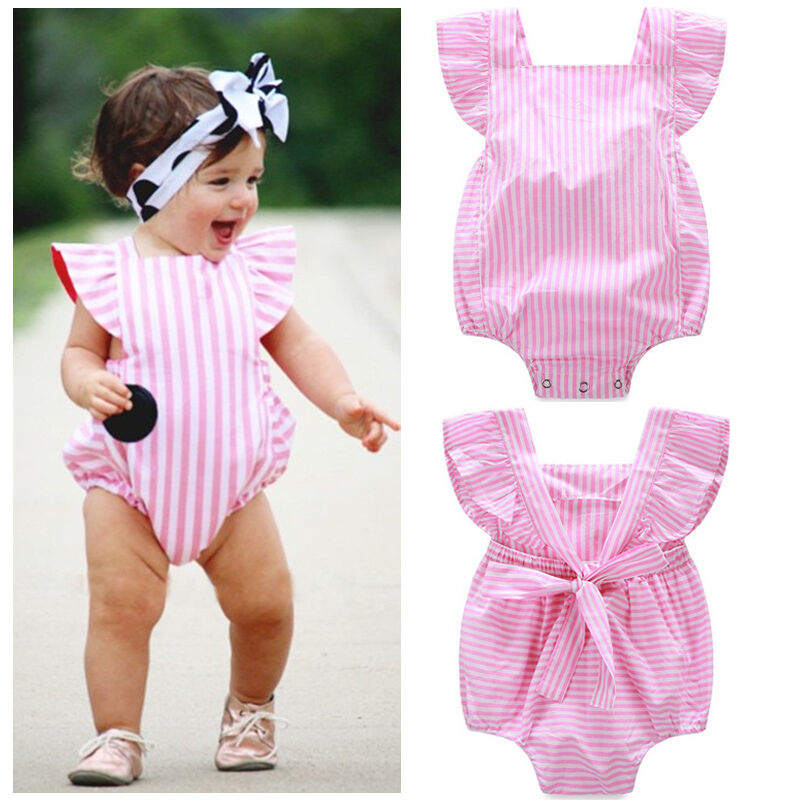 98689a3f79a Details about Cute Infant Baby Kids Girl Clothes Bow Bodysuit Romper  Jumpsuit Outfits Sunsuit