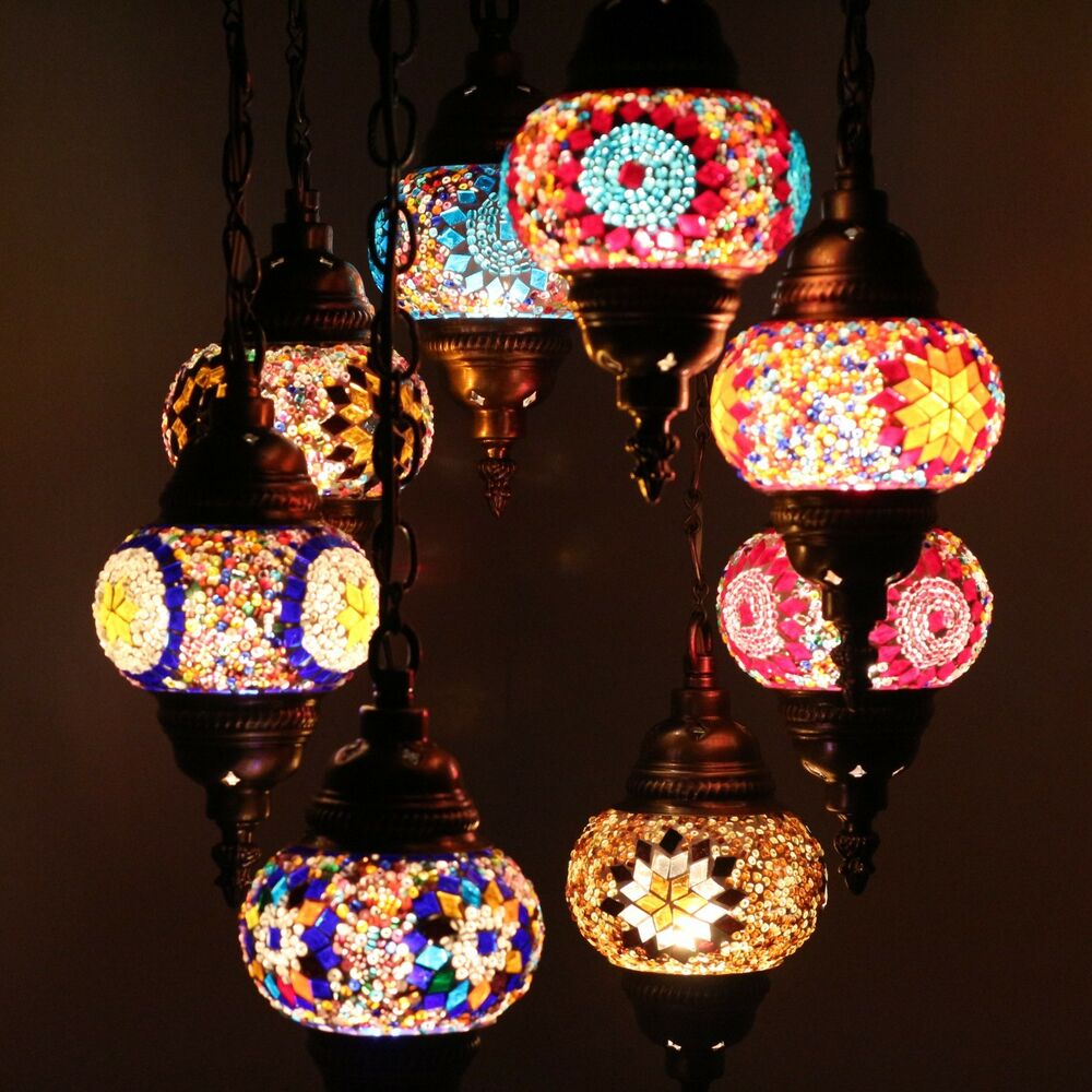 mosaik lampe deckenlampe orientalische lampe t rkei mosaik 8 kugeln ebay. Black Bedroom Furniture Sets. Home Design Ideas