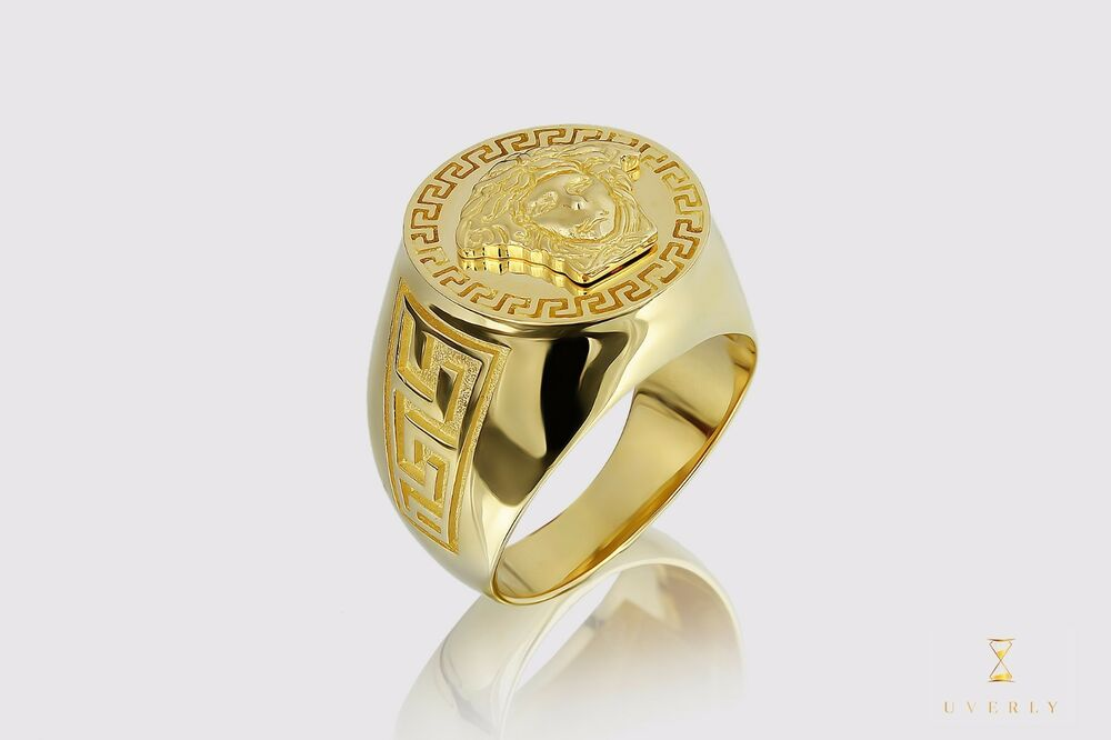 Versace Medusa 14k Solid Yellow Gold Men s Men Gold Ring Mens Jewelry Shi
