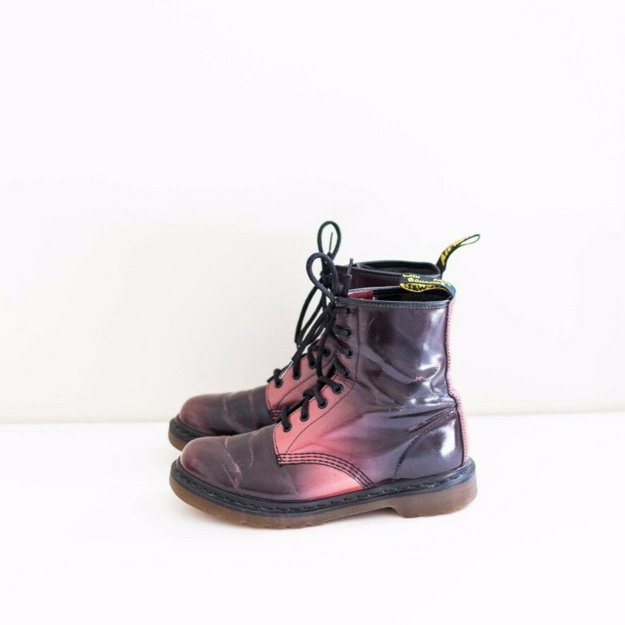 doc martens ombre maroon leather grunge lace ankle combat