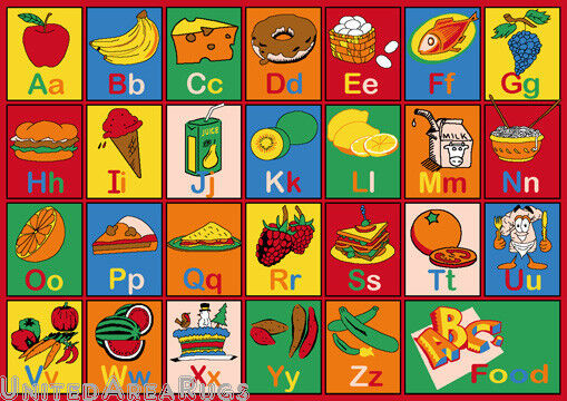 5x7 Educational Rug Kids ABC Food Names School Learning Time Alphabet Fruit  New. ABC Carpet   eBay