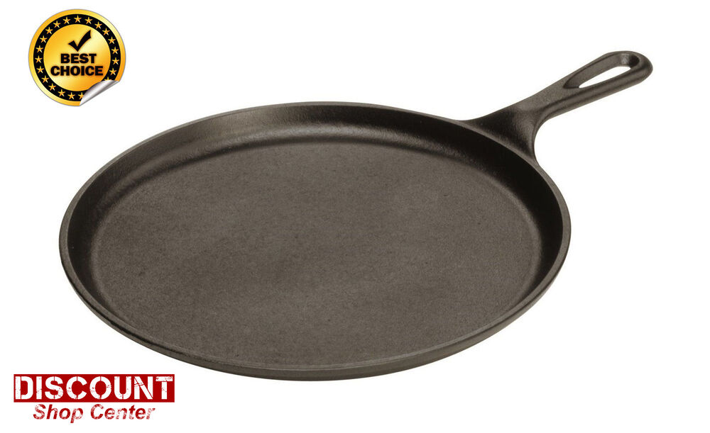 Cast Iron Round Flat Pan Frying Grill Griddle Cookware
