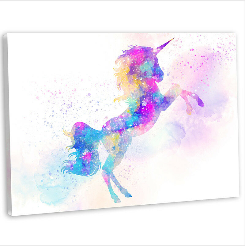 Unicorn canvas print framed animal painting wall art for Newspaper canvas art