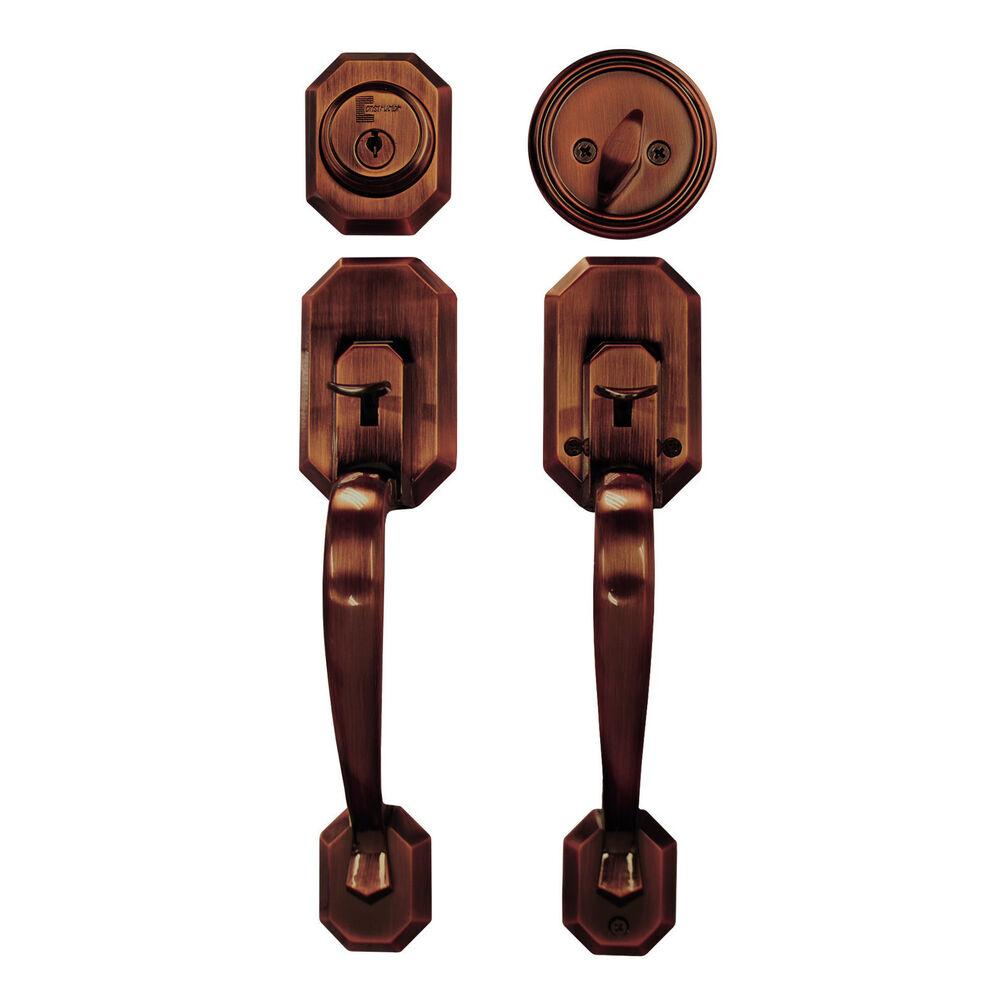 Door Handle Lock Set Copper Single Cylinder Double Entry