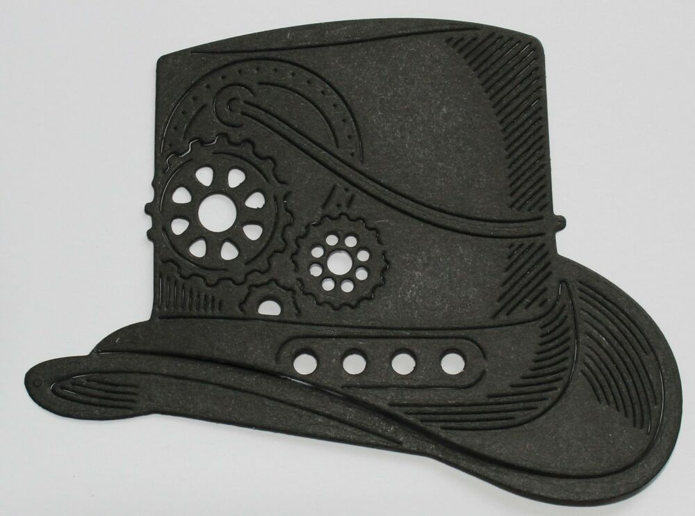 Details about 6 Tattered Lace  Steampunk Hat  die-cuts in either black or  white card df68129cbdd
