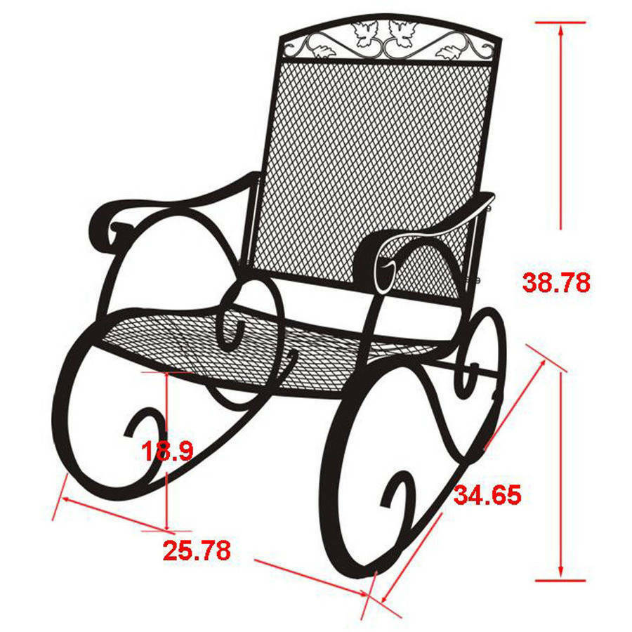 Details About Porch Rocking Chair Wrought Iron Outdoor Rocker Patio Glider Deck Seat New
