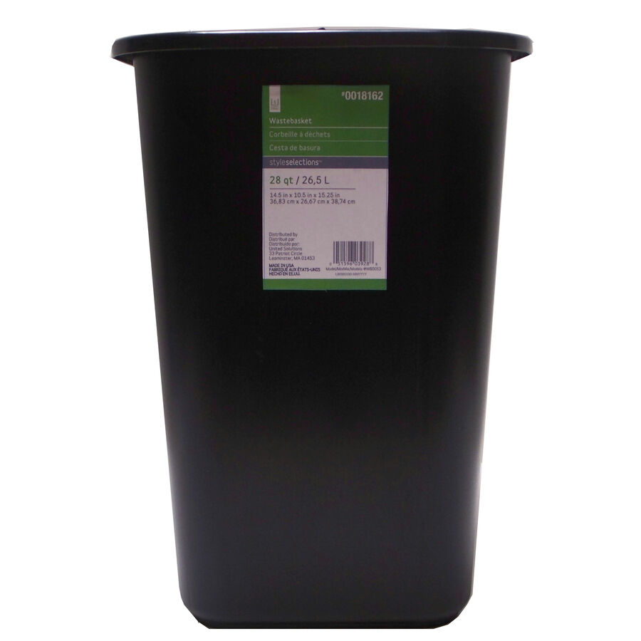 new style selections 7 gallon plastic trash can black home office made in usa ebay. Black Bedroom Furniture Sets. Home Design Ideas