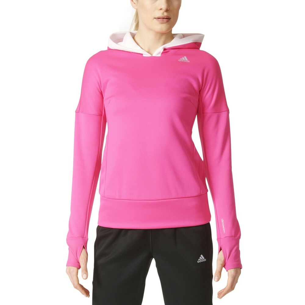 cad072b375e0 Details about Adidas Response Climawarm Astro Women's Running Hoodie Shock  Pink/White b48021