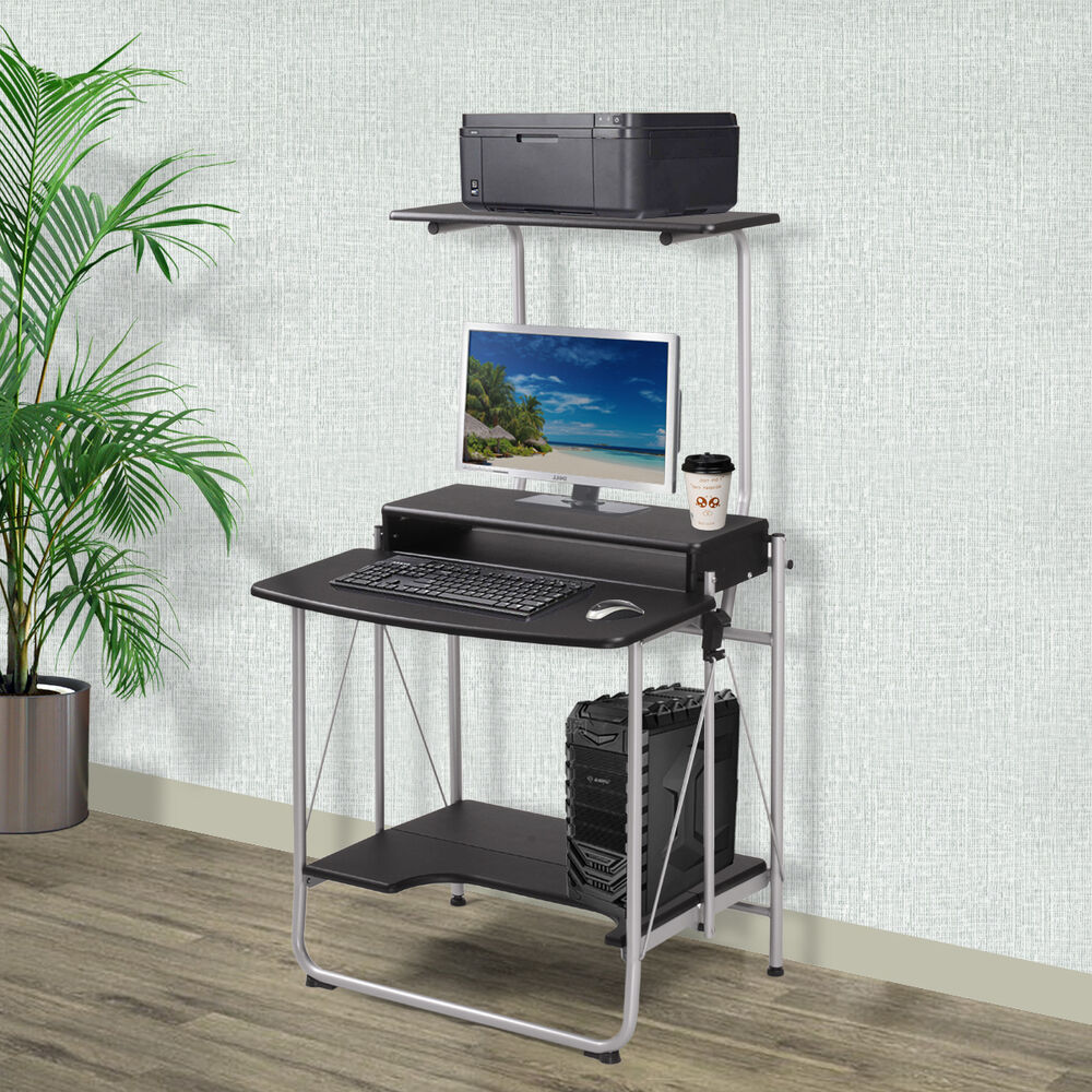3 Tier Computer Desk With Printer Shelf Stand Home Office
