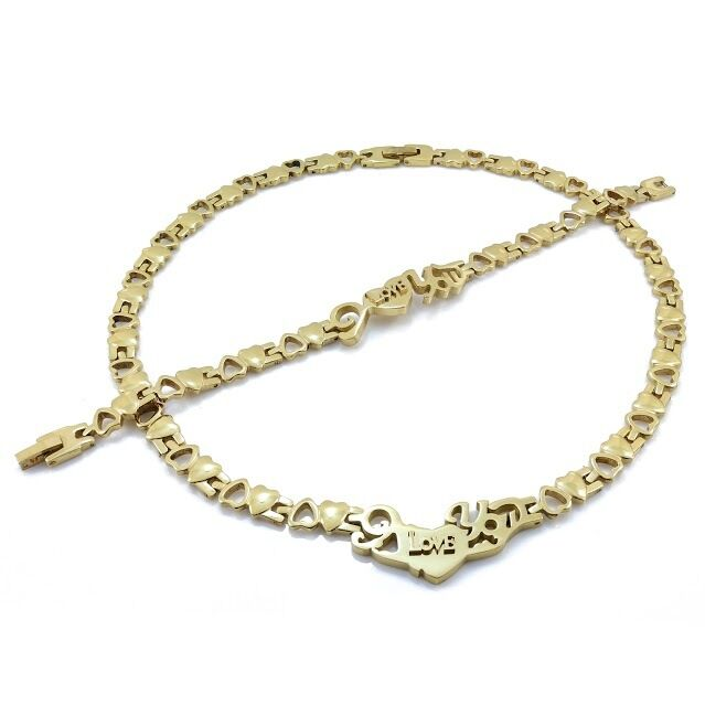 Xoxo Gold Bracelet: WOMENS 14K GOLD I LOVE YOU HUGS AND KISSES NECKLACE
