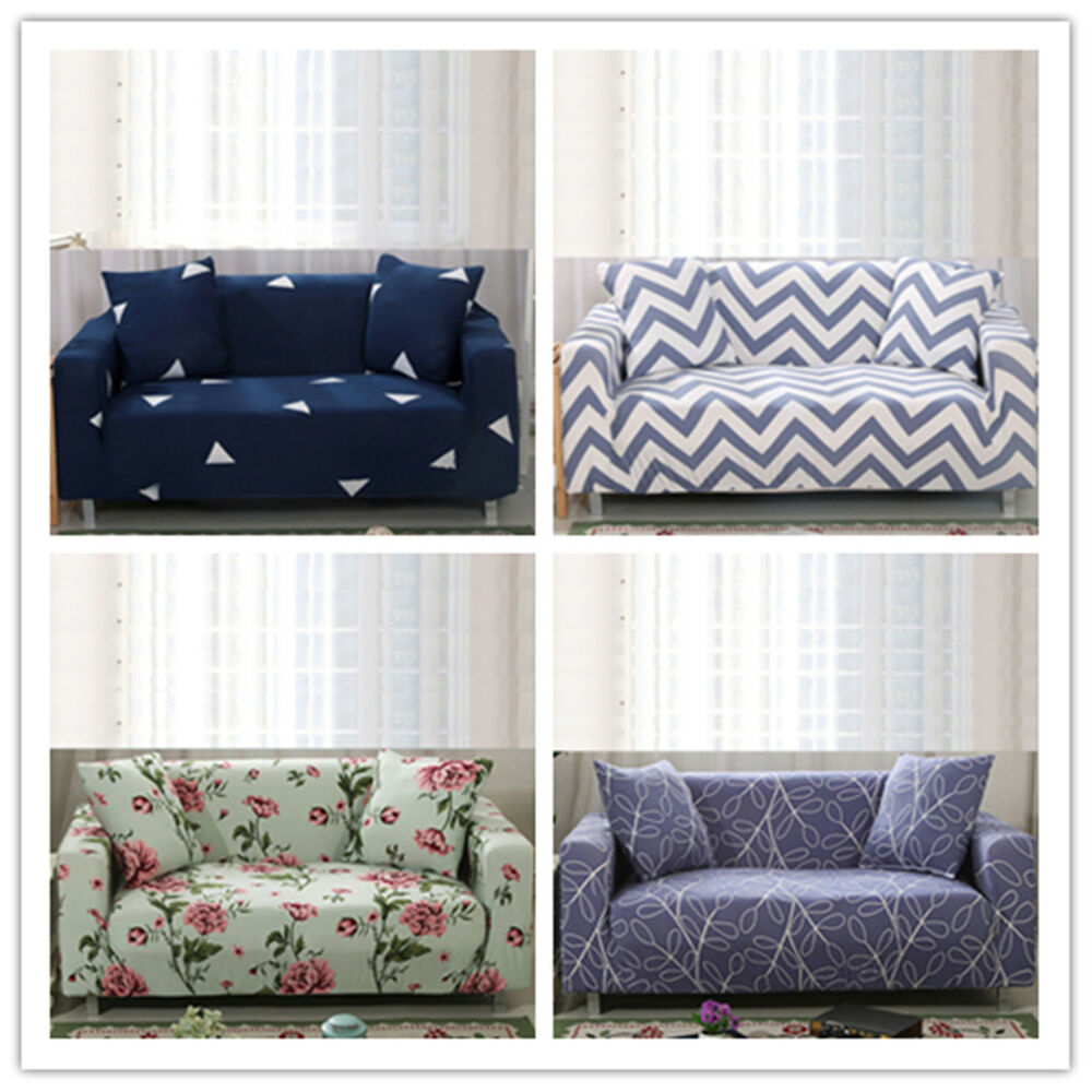 elastic 1 2 3 4 seater cover print decor sofa stretch protector couch slipcover ebay. Black Bedroom Furniture Sets. Home Design Ideas