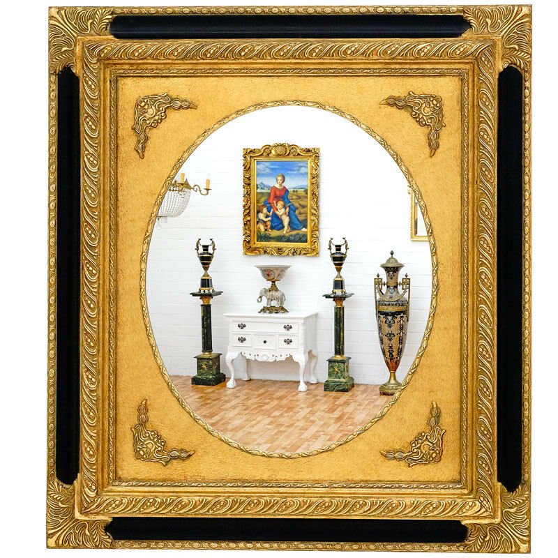 miroir baroque 92x82cm style louis xv rococo rocaille cadre en bois dore noir ebay. Black Bedroom Furniture Sets. Home Design Ideas