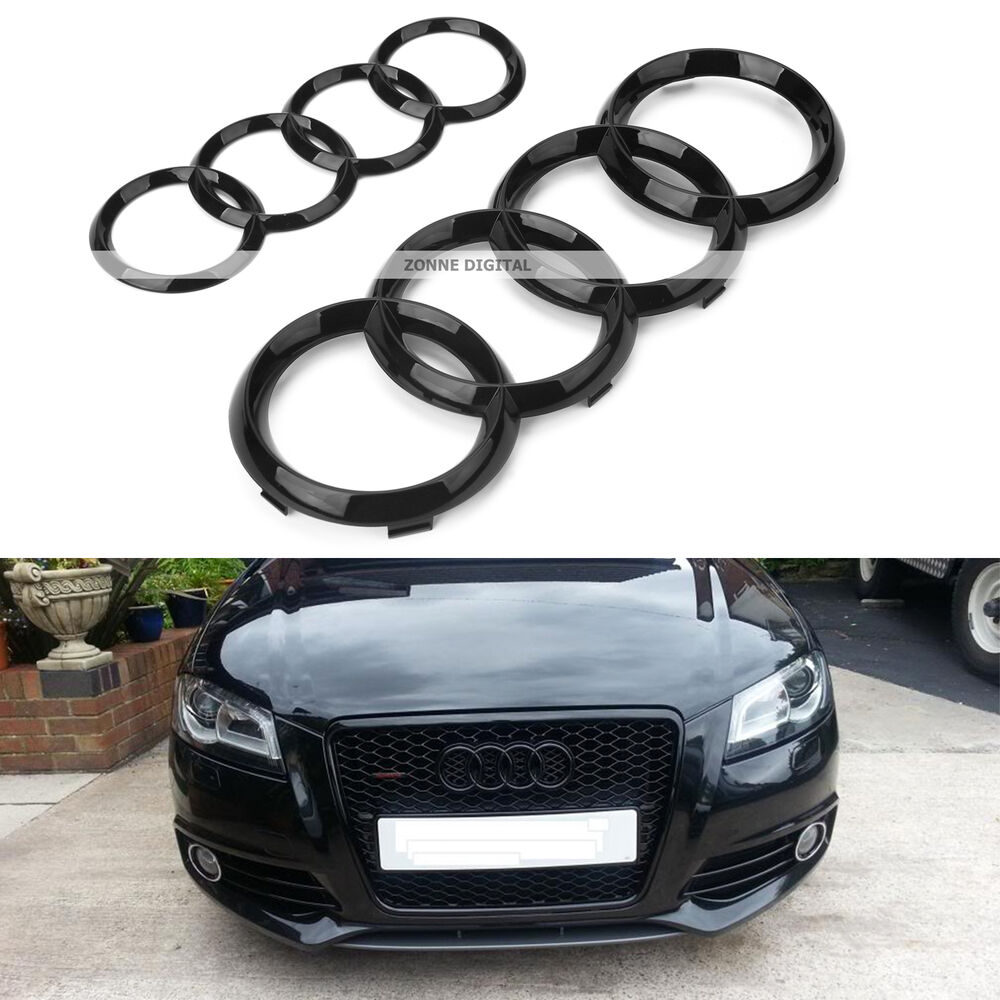 audi gloss black rear front rings badge emblem quattro s line a3 s3 rs3 a4 a5 a6 ebay. Black Bedroom Furniture Sets. Home Design Ideas