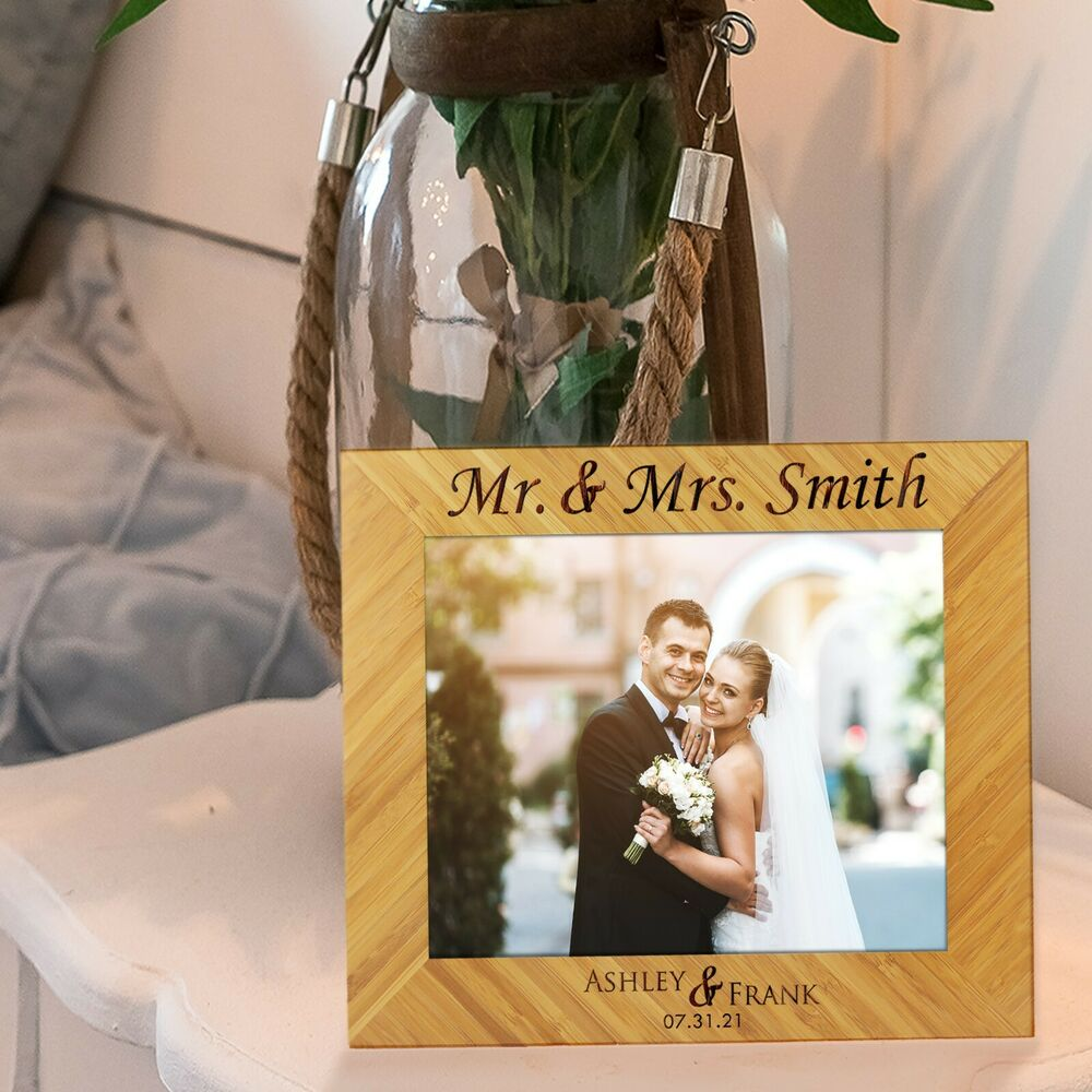 Gifts For Newly Wed Couple: Custom Engraved 5x7 Picture Wedding Frame For Newlywed