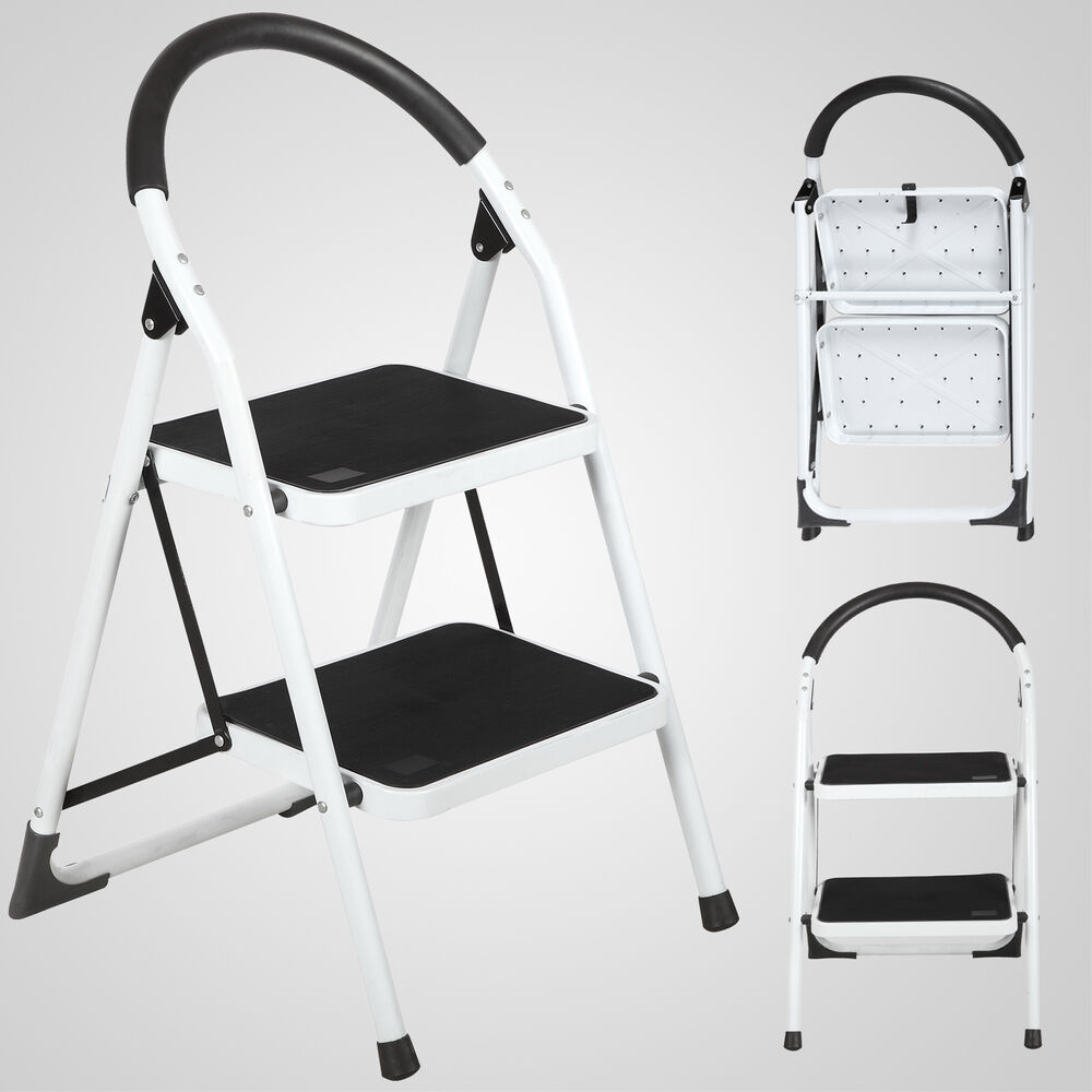 Non Slip 2 Step Ladder Lightweight Folding Step Stool With