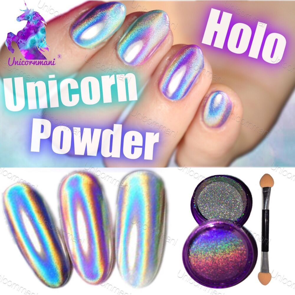 Extra Fine Holographic Chrome Nail Art Powder: UNICORN HOLOGRAPHIC POWDER Extra Fine 15 Microns Rainbow