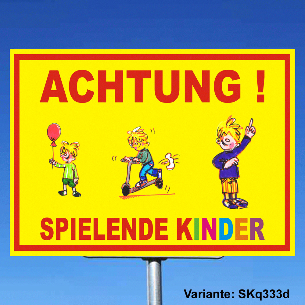 achtung kinder schild spielende kinder spielstrasse skq333d warnschild vorsicht ebay. Black Bedroom Furniture Sets. Home Design Ideas