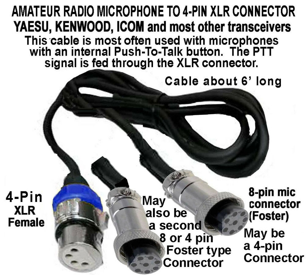 amateur cable yaesu kenwood icom 8 pin 4 pin mic to 8. Black Bedroom Furniture Sets. Home Design Ideas