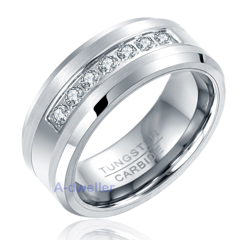 8mm Mens Tungsten Ring Round Diamond Inlay Center Brushed