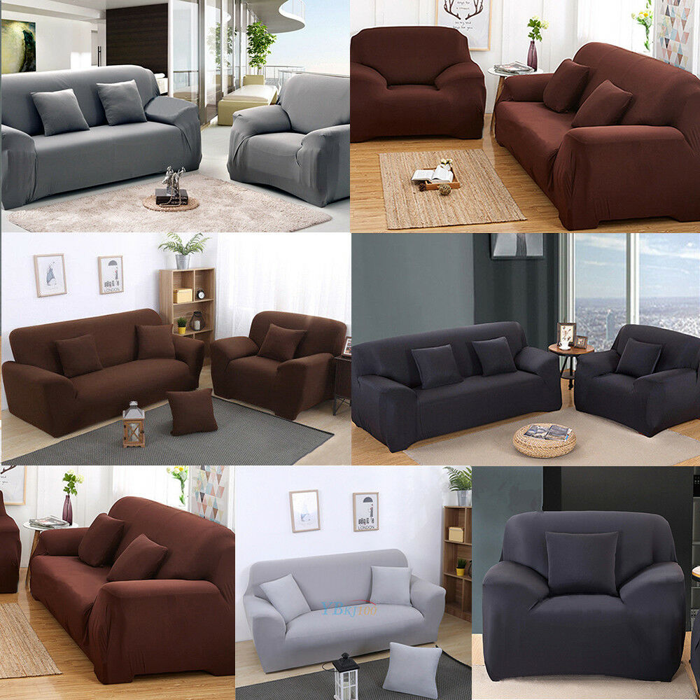 1 2 3 seater sofa cover slipcover stretch elastic couch home furniture protector ebay. Black Bedroom Furniture Sets. Home Design Ideas