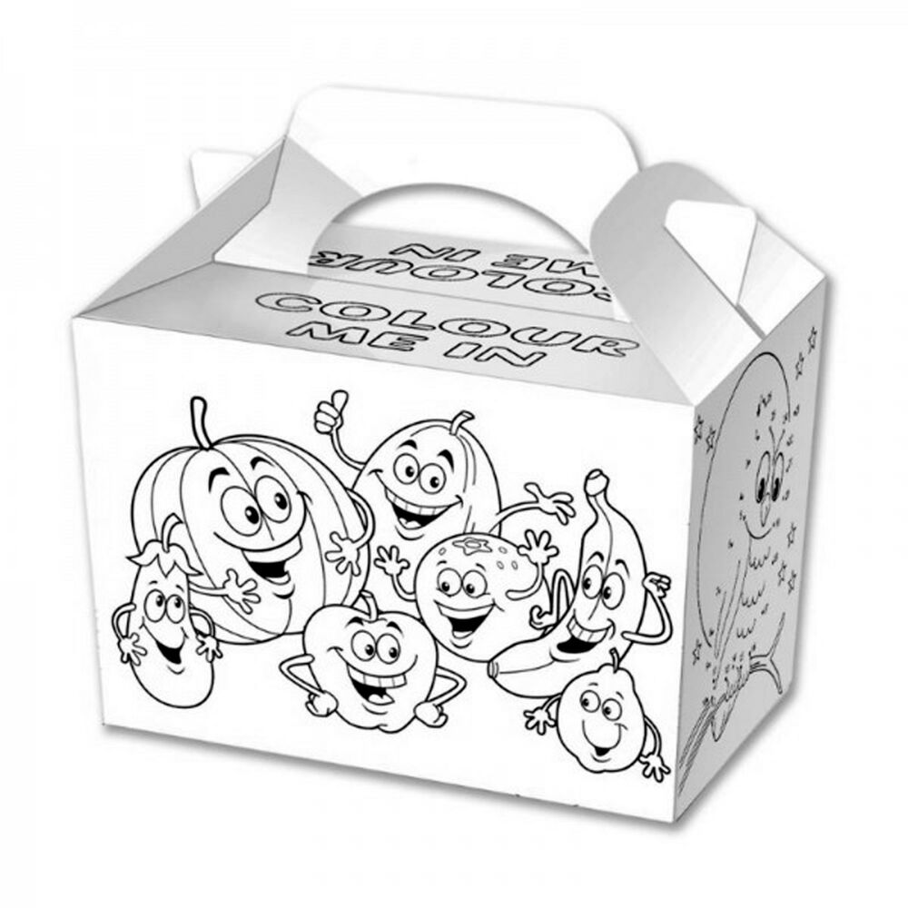 Details about 12 kids birthday party wedding meal lunch food gift loot bag colour me in boxes