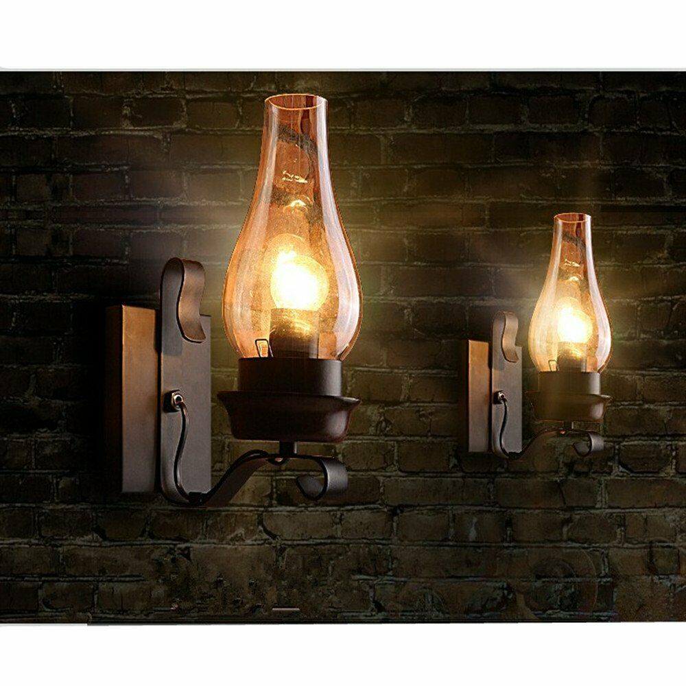 Wall Sconces Rustic: Vintage Rustic Single Light Metal Wall Sconce Glass