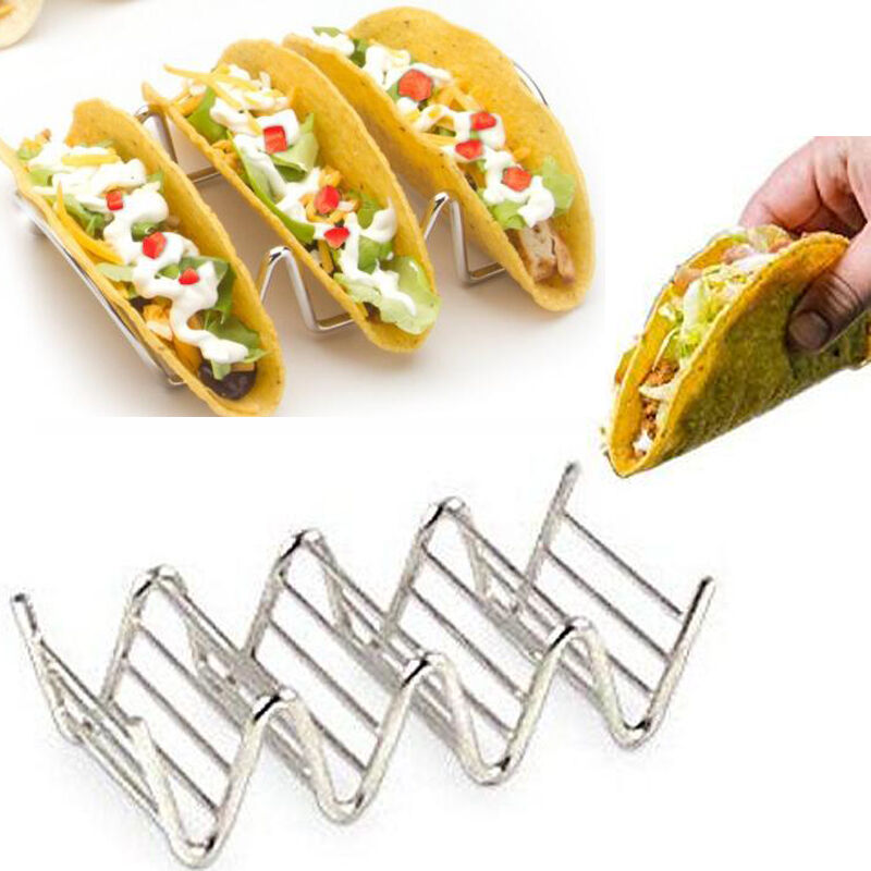 Wave Shape Stainless Steel Taco Display Stand Up Holders