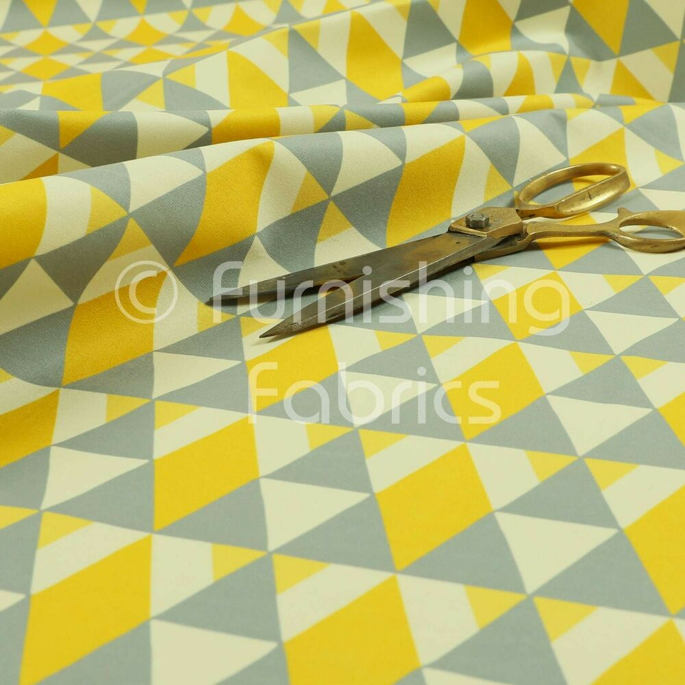 Modern printed velvet yellow grey triangle pattern for Furnishing fabrics
