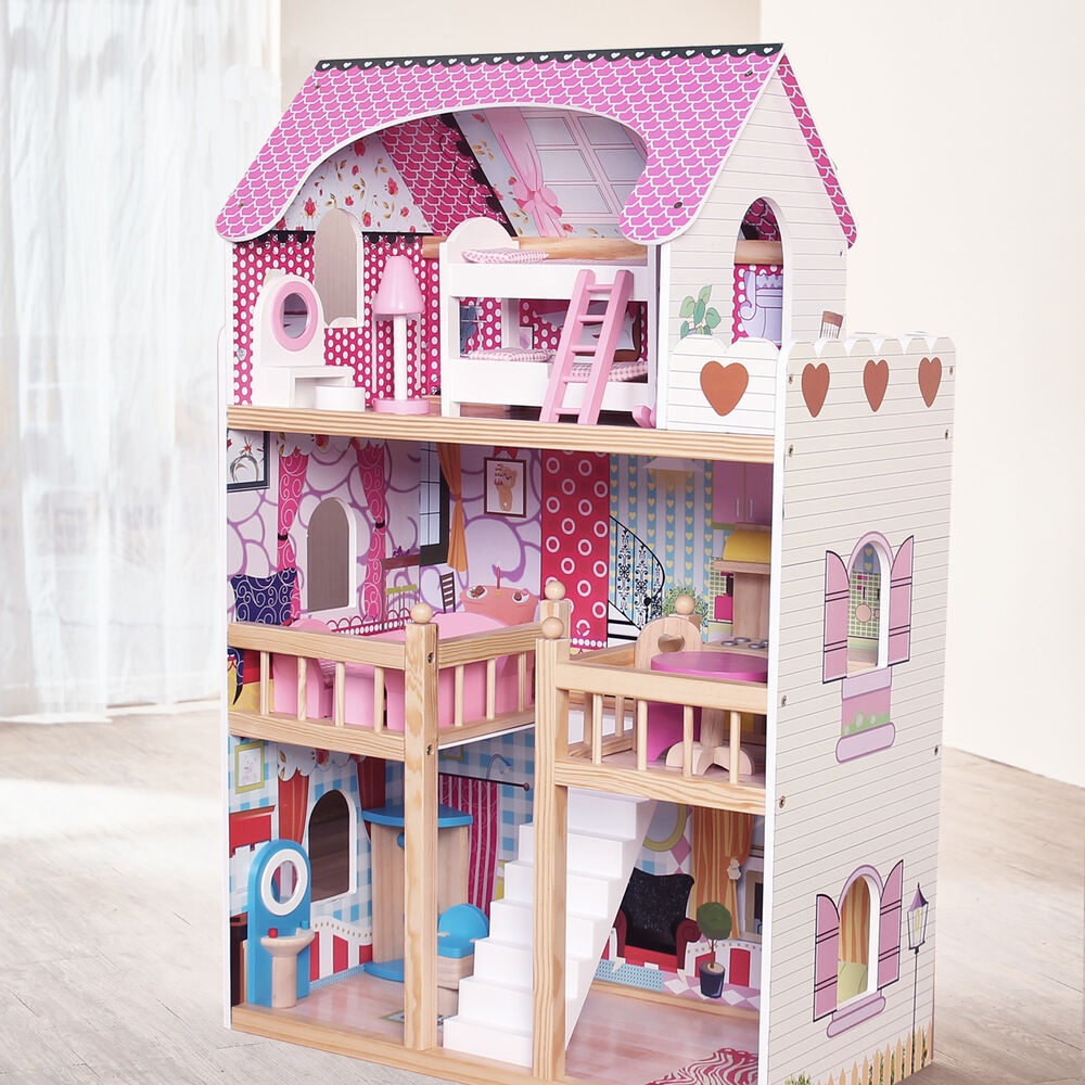 Modern Wooden Kids Dolls House Large Dolls House 17pcs Furniture Barbie Doll Ebay