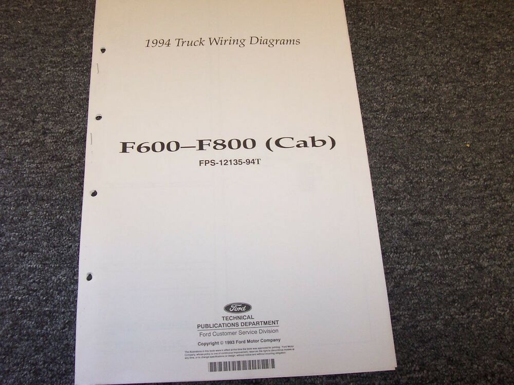 details about 1994 ford f600 f700 f800 cab truck electrical wiring diagram  manual