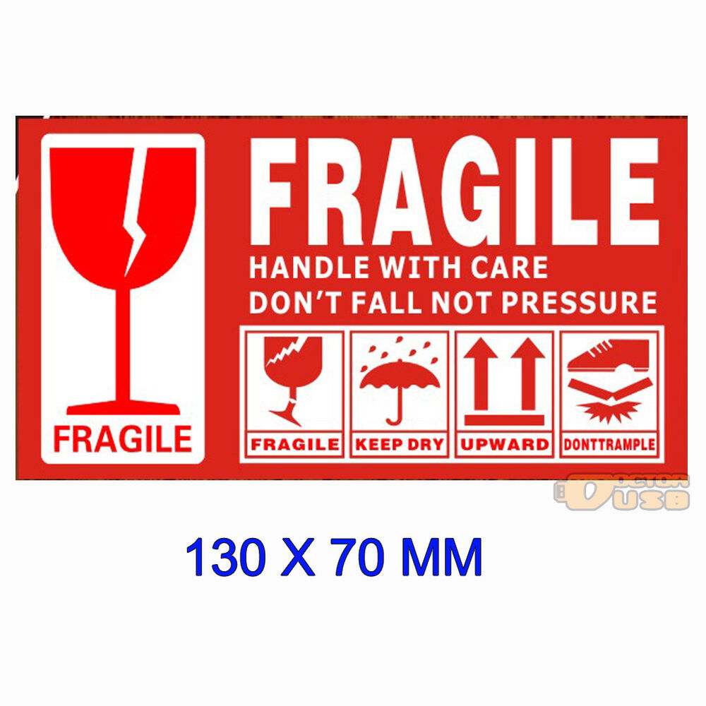 Large 130x70mm Warning Fragile Lable Tag Handle With Care