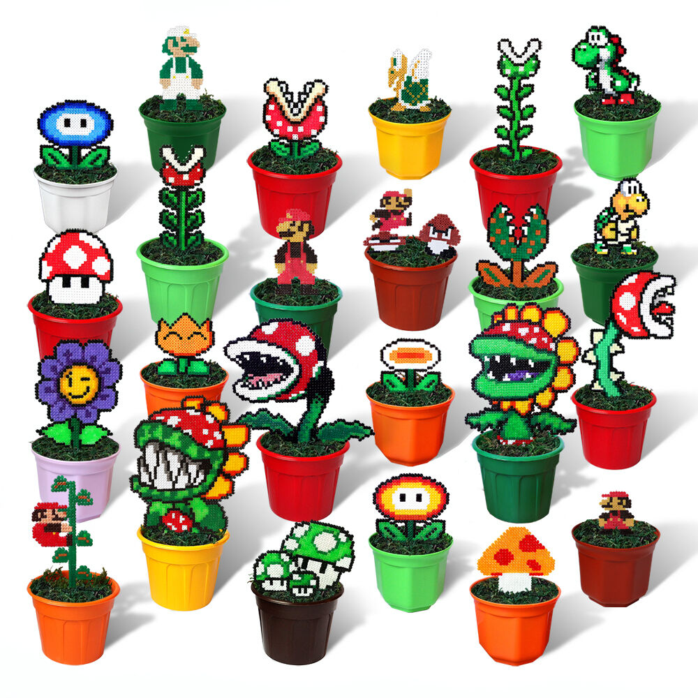 24 super mario bros figures in pots pixel beads handmade for 8 bit decoration
