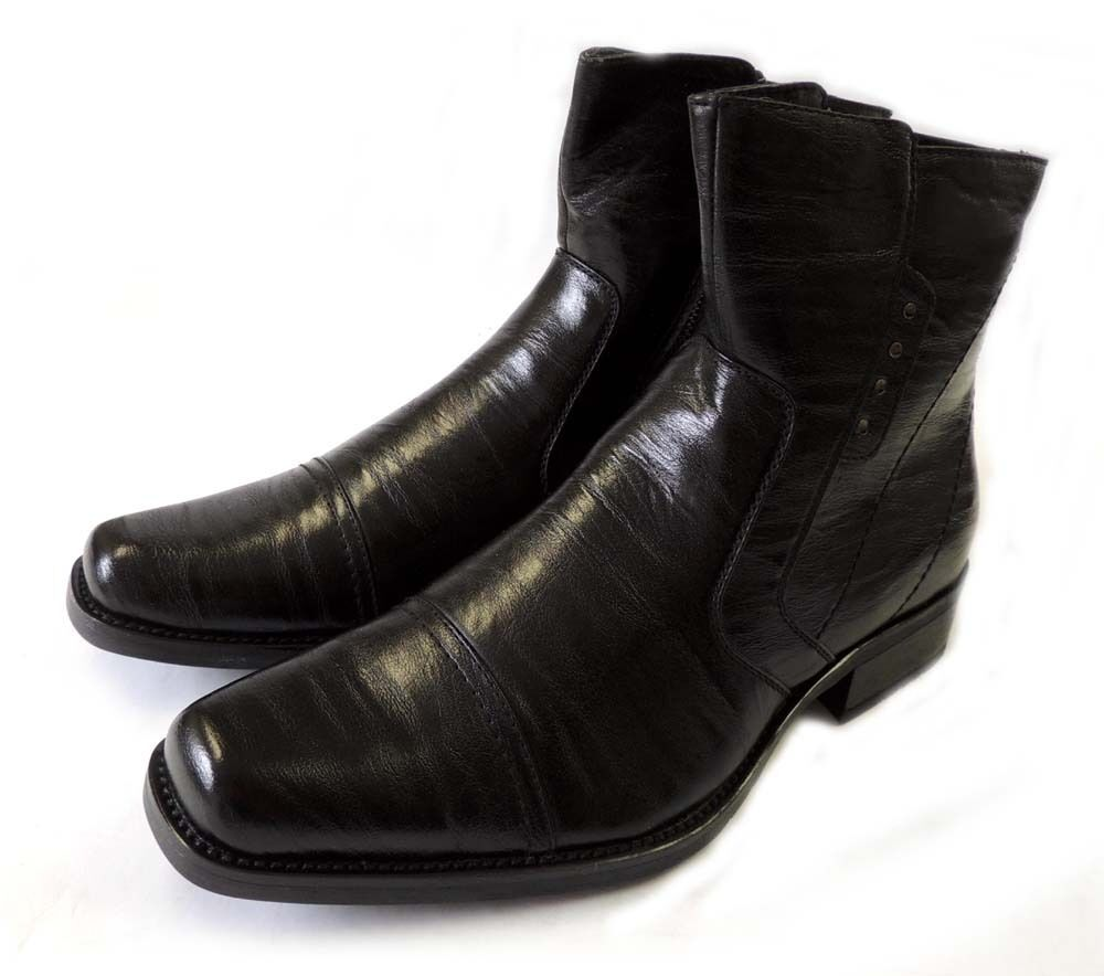 new mens dress ankle boots western cowboy zippered leather
