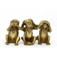 Collectibles Brass See Speak Hear No Evil 3 Monkey Small Statues